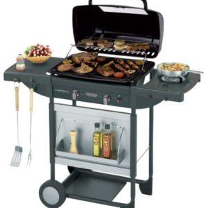 Campingaz Barbecue Gas Texas Revolution, BBQ Gas per Pietre Laviche, Grill Barbecue a Gas Compatto con 2 Bruciatore, Potenza 8.2 kW, Griglie in Ghisa, 2 Tavoli a Lato e Carrello in Acciaio