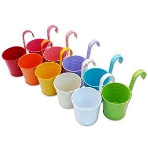 GIOVARA Vaso portafiori in Metallo a Forma di Secchio da Appendere, Vaso da Giardino Senza Foro di drenaggio, Decorazione da Balcone, Gancio Rimovibile (10 Pezzi con 10 Colori Assortiti)