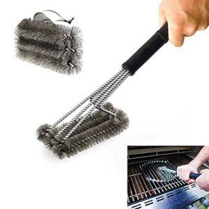 PePeng Heavy Duty 3-Branch Triangular metal brush stainless steel bristles for cleaning barbecue grill,45.7 cm