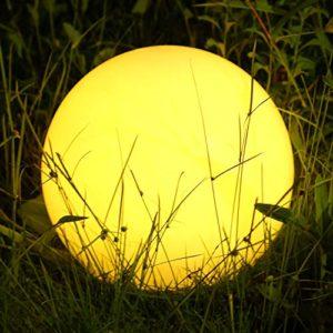 Lampada Solare, LED Luci Giardino Esterno con Telecomando, Diametro 30 cm con 12 Colori Regolabili, USB Ricaricabile, IP68 Impermeabile a forma di Rotonda, Adatta per giardino, piscina