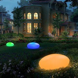 Lampada solare da giardino per esterni, LED a energia solare, in pietra di ghiaia con un diametro interno più lungo di 40 cm, impermeabile IP67 per giardino/laghetto/piscina/festa.