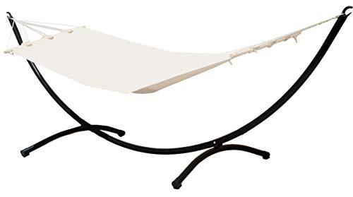 AMANKA set completo Sostegno di metallo nero incl Amaca di cotone 190x80cm beige supporto a semiluna peso sostenuto max 120kg
