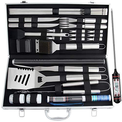 Romanticist 28pcs Kit di Accessori per Barbecue Set - Utensili per Grill in Acciaio Inox in Custodia di Alluminio per Barbecue Uomini papà di Compleanno di Matrimonio