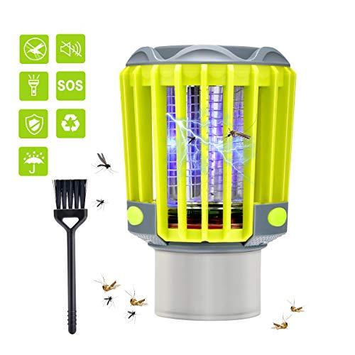 BASEIN Insetticida UV, Zanzariera Elettrica USB, 3 in 1 Lampada Anti Zanzare IP67 con Lampada da Campeggio e Torcia Elettrica Contro Zanzare, Mosche, Zanzare per Uso Interno ed Esterno