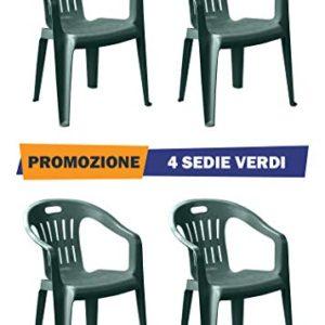Sedia Piona Verde con Braccioli | 4 Pezzi | Poltroncina in Plastica Impilabile da Giardino Garden Bar Interno Esterno Campeggio Balcone Pizzeria