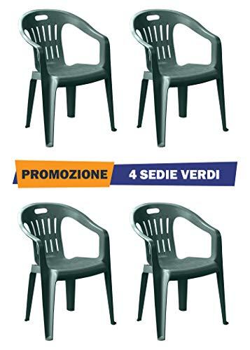 Sedie Plastica Giardino Roma.Sedia Piona Verde Con Braccioli 4 Pezzi Poltroncina In
