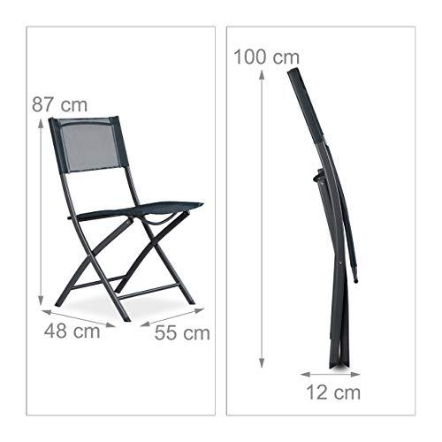 Sedie Plastica Pieghevoli Da Giardino.Relaxdays 10020943 Sedia Pieghevole Da Balcone Metallo Plastica