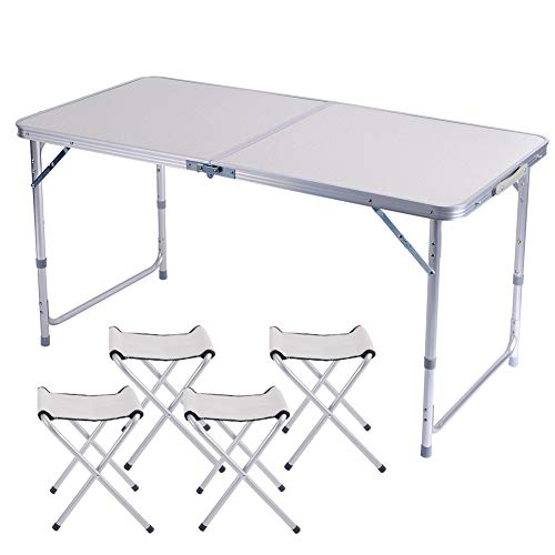 Tavoli Pieghevoli In Alluminio.Tavolo Pieghevole 1 2 Metri E 4 Sedie Portatile Lega Di Alluminio