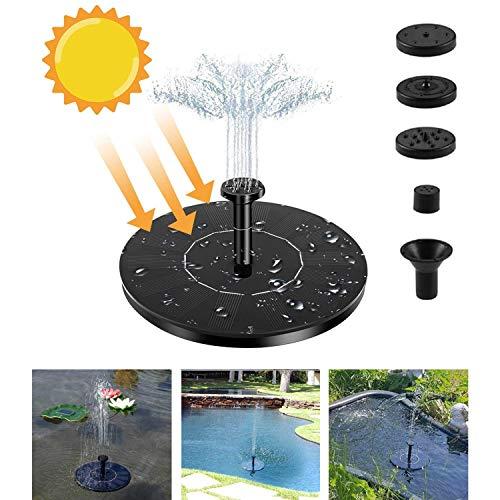 Giardino Piscina Piccolo Stagno Fontana Galleggiante ad Acqua Solare con 7 Ugelli Staffa inclinabile |per Bagno di Uccelli 2020 Nuova Pannello Solare da Giardino Pompa per Fontana Solare